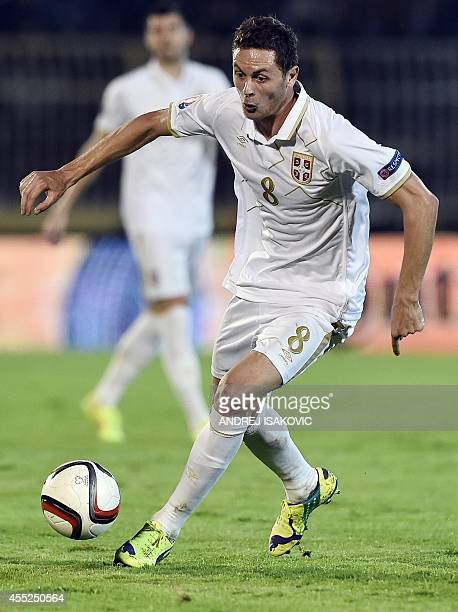 Serbia's midfielder Nemanja Matic controls the ball during the friendly football match between Serbia and France in Belgrade on September 7 2014 AFP...