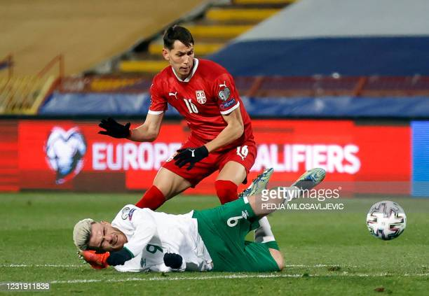 Serbia's midfielder Sasa Lukic fights for the ball with Ireland's forward Aaron Connolly during the FIFA World Cup Qatar 2022 Group A qualification...
