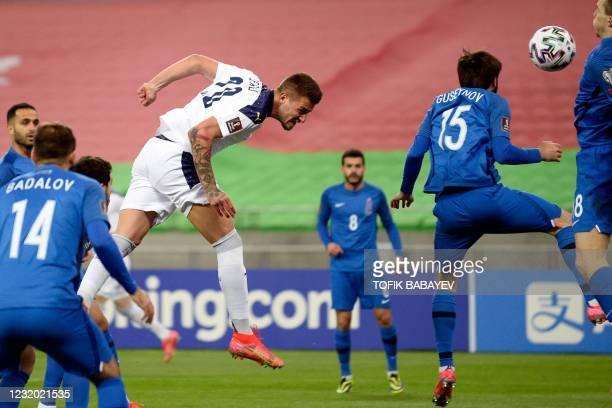 Serbia's midfielder Sergej Milinkovic-Savic in action during the FIFA World Cup Qatar 2022 qualification football match Azerbaijan v Serbia in Baku...