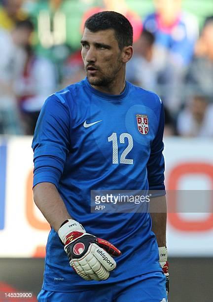 Serbia's national football team goalkeeper Damir Kahriman looks on during the friendly football match between Spain and Serbia at the AFG Arena in St...