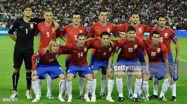 Serbia's national football team players pose for photographers prior their FIFA World Cup 2010 group 7 qualifying football match against France in...