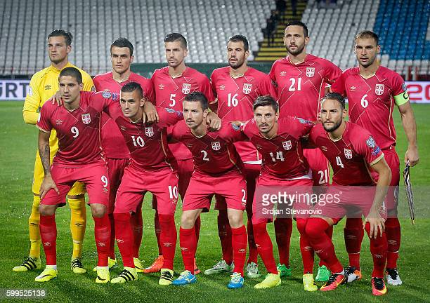 Serbia's national team players pose for the photo the FIFA 2018 World Cup Qualifier between Serbia and Ireland at stadium Rajko Mitic on September 5...