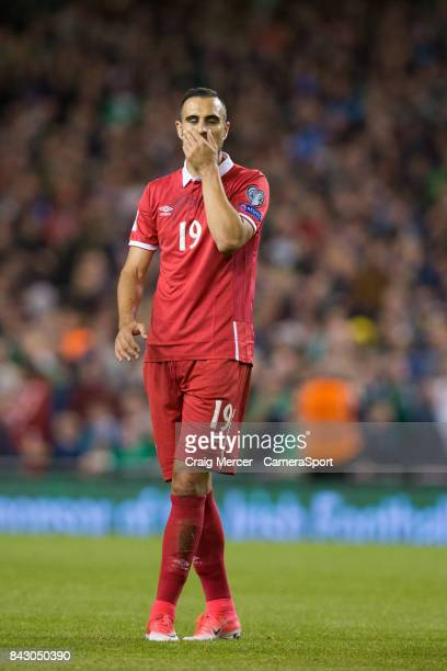 Serbias Nikola Maksimovic reacts after being shown a red card during the FIFA 2018 World Cup Qualifier between Republic of Ireland and Serbia at...