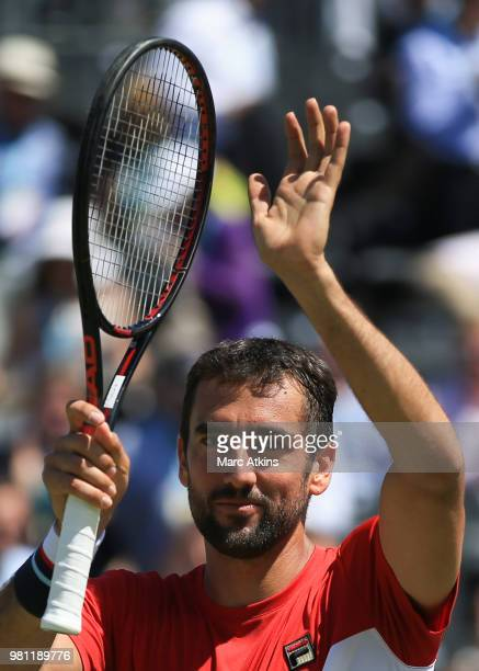 Serbia's Novak Djokovic ackowledges the crowd after winning against France's Adrian Mannarino in their men's singles quarterfinals match at the ATP...