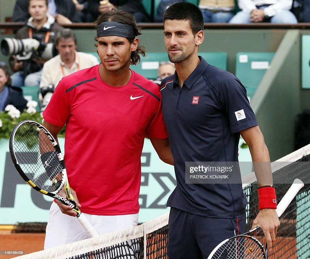 Serbia's Novak Djokovic (R) and Spain's  : News Photo