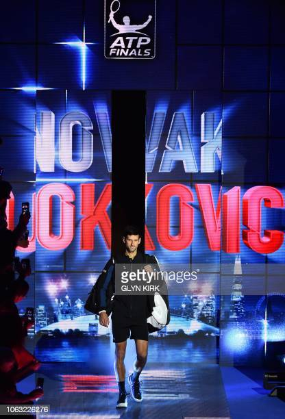 Serbia's Novak Djokovic arrives to play against Germany's Alexander Zverev during their men's singles final match on day eight of the ATP World Tour...