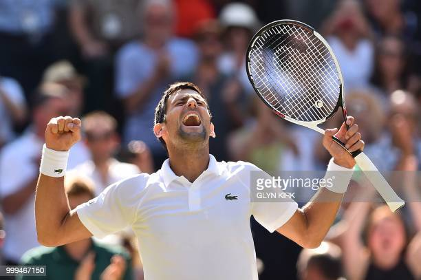TOPSHOT Serbia's Novak Djokovic celebrates after beating South Africa's Kevin Anderson 62 62 76 in their men's singles final match on the thirteenth...