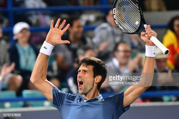 Serbia's Novak Djokovic celebrates his victory during the Mubadala World Tennis Championship 2018 in Abu Dhabi on December 29 2018 Djokovic won a...
