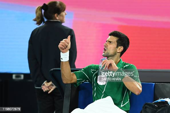 Serbia S Novak Djokovic Gestures To The Umpire As He Plays Against News Photo Getty Images