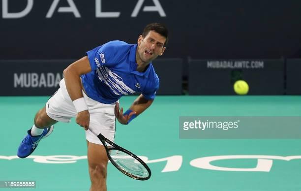 Serbia's Novak Djokovic in action against Greece's Stefanos Tsitsipas during the Mubadala World Tennis Championship at Zayed Sports City in Abu Dhabi...