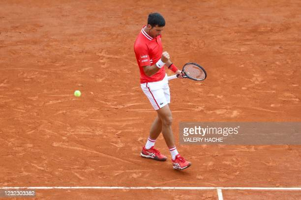 Serbia's Novak Djokovic reacts during his second round singles match against Italy's Jannik Sinner on day five of the Monte-Carlo ATP Masters Series...