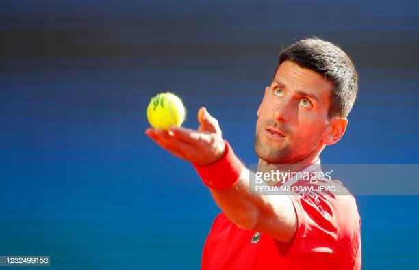 Serbias Novak Djokovic serves to Russia's Aslan Karatsev during their ATP 250 Serbia Open semi-final singles tennis match at The Novak Tennis Centre...
