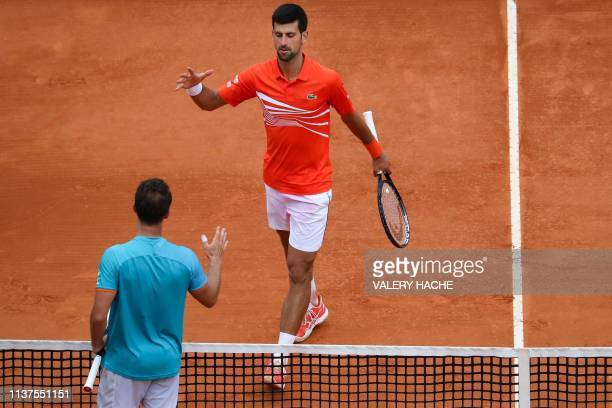 Serbia's Novak Djokovic walks to shake hands with Germany's Philipp Kohlschreiber after winning their tennis match on the day 4 of the Monte-Carlo...
