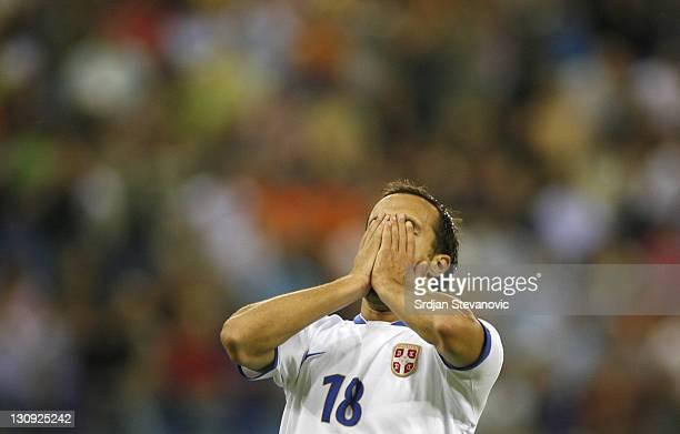 Serbia's player Dragan Mrdja celebrate his goal during UEFA European Championship Under 21 semifinals match between Belgium U21 and Serbia U21...
