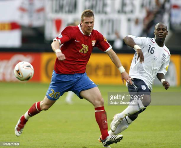 Serbia's player Slobodan Rajkovic left in action against England's player Leroy Lita right during Serbia U21 vs England U21 UEFA European Under 21...