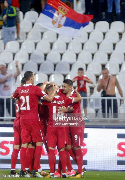 Serbia`s players celebrate after scoring a goal during the FIFA World Cup 2018 qualifying football match between Serbia and Moldova at The FK...