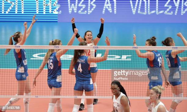 Serbia's players celebrate the victory after during FIVB Volleyball Nations League on 12 June 2018 in Santa Fe Argentina The US Womens National Team...