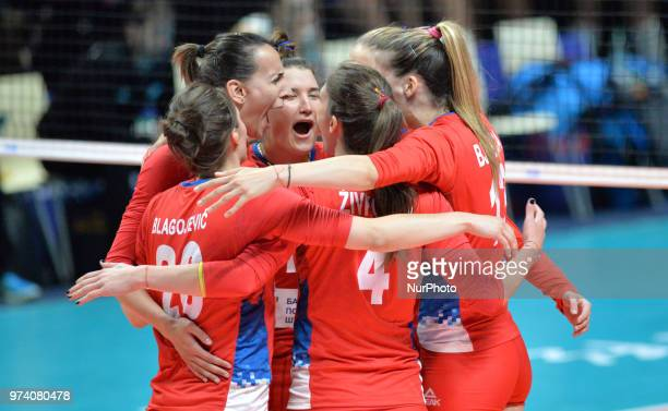 Serbia's players celebrate the victory during FIVB Volleyball Nations League match between Argentina and Serbia at the stadium of the technological...