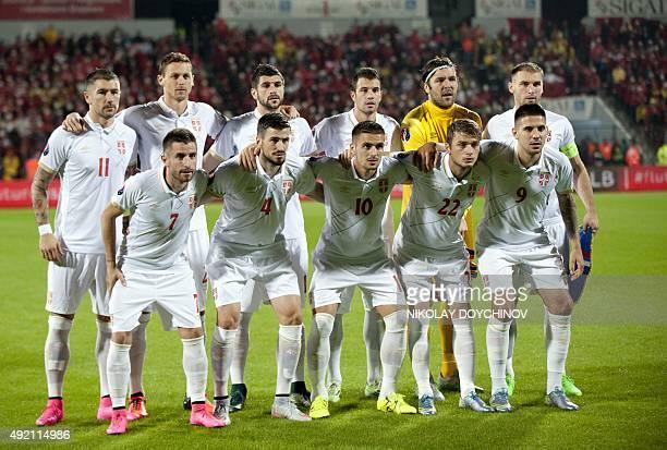 Serbia's players defender Aleksandar Kolarov midfielder Nemanja Matic defender Stefan Mitrovic midfielder Luka Milivojevic goalkeeper Vladimir...