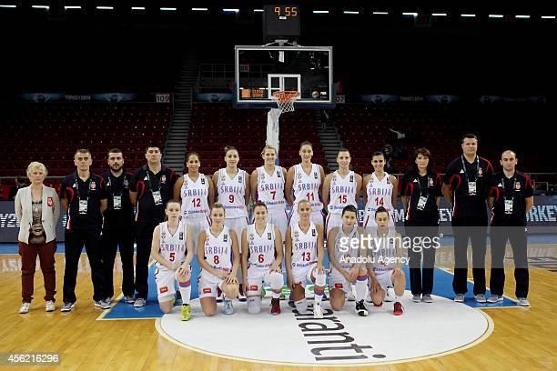 Serbia's players Tamara Radocaj , Sanja Mandic , Sasa Cado , Sara Krnjic , Nevena Jovanovic , Jelena Milovanovic , Dajana Butulija , Tijana Ajdukovic...