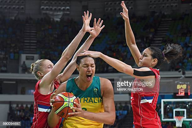 TOPSHOT Serbia's power forward Danielle Page and Serbia's forward Sonja Petrovic defends against Australia's centre Elizabeth Cambage during a...