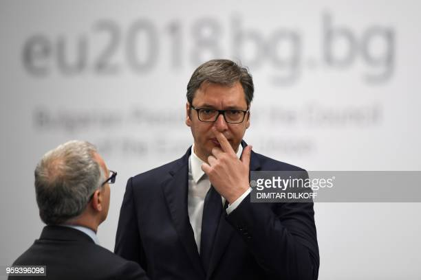 Serbia's President Aleksandar Vucic attends the EUWestern Balkans Summit in Sofia on May 17 2018 European Union leaders meet their Balkan...