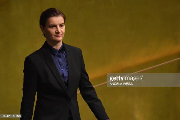 Serbia's Prime Minister Ana Brnabic arrives to speak at the General Debate of the 73rd session of the General Assembly at the United Nations in New...