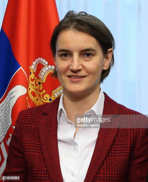 Serbia's Prime Minister Ana Brnabic attends the EU/Serbia Stabilisation and Association Council at the European Council in Brussels Belgium on...