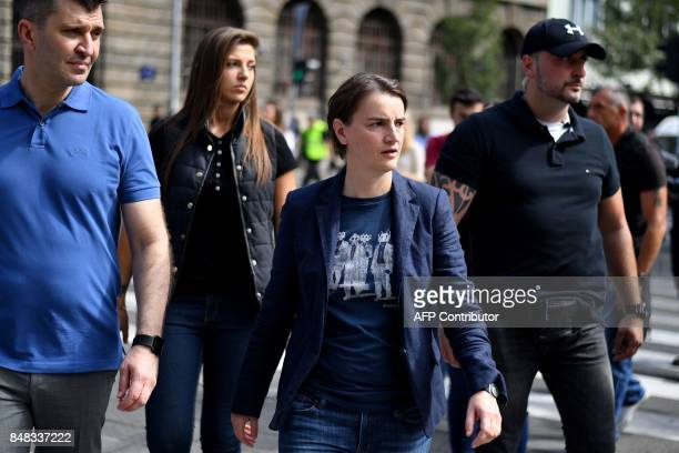 Serbia's prime minister Ana Brnabic attends the Gay Pride parade on September 17 2017 in Belgrade Serbia's lesbian prime minister on September 17...