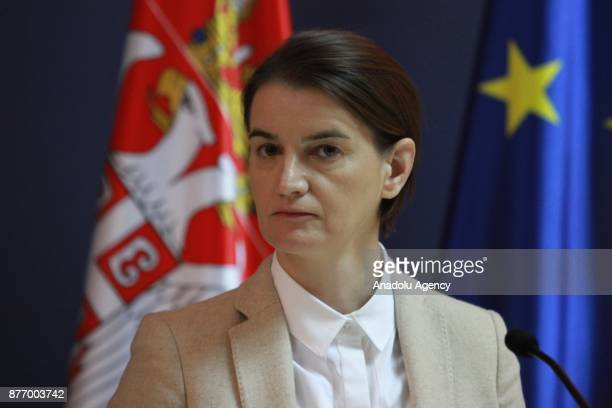 Serbia's Prime Minister Ana Brnabic listens during a joint press conference held with Macedonian Prime Minister Zoran Zaev in Belgrade Serbia on...