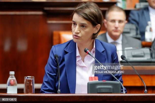 Serbia's Prime Ministerdesignate Ana Brnabic speaks during a session at the parliament in Belgrade on June 28 2017 Serbian parliament convenes to...