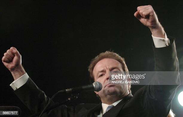 Serbia's richest tycoon and leader of the opposition party called the Strength of Serbia Movement Bogoljub Karic gestures during a rally in downtown...