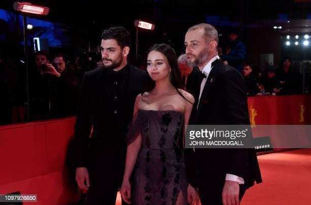 Serbia's shooting star Milan Maric Ireland's shooting star Aisling Franciosi and Macedonia's shooting star Blagoj Veselinov pose on the red carpet...