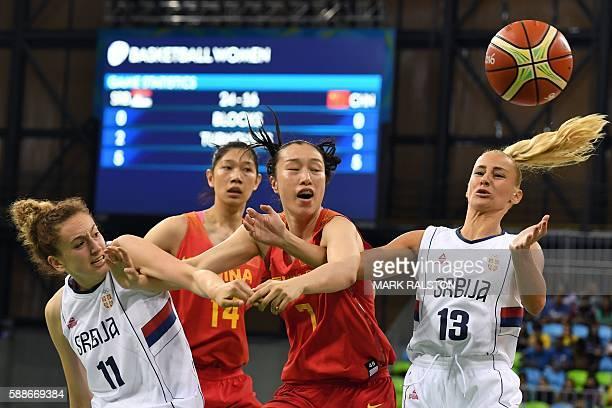 Serbia's small forward Aleksandra Crvendakic China's centre Huang Hongpin China's small forward Shao Ting and Serbia's point guard Milica Dabovic go...