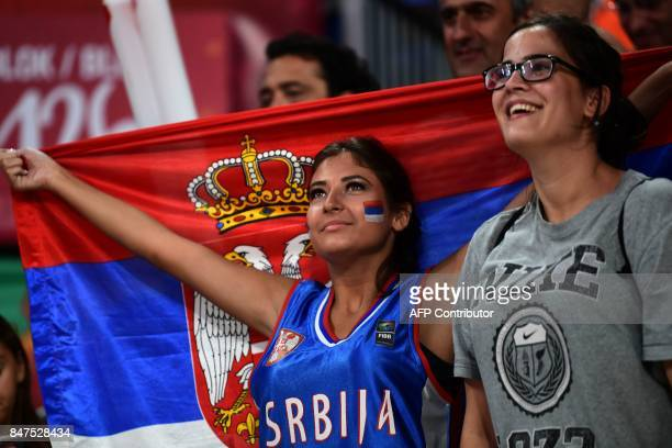 TOPSHOT Serbia's supporters cheer their team after winning the FIBA Eurobasket 2017 men's Semi Final basketball match between Russia and Serbia at...