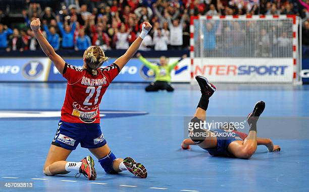 Serbia's Svetlana Ognjenovic celebrates her team victory over South Korea at the end of the 2013 Women's Handball World Championship round of sixteen...
