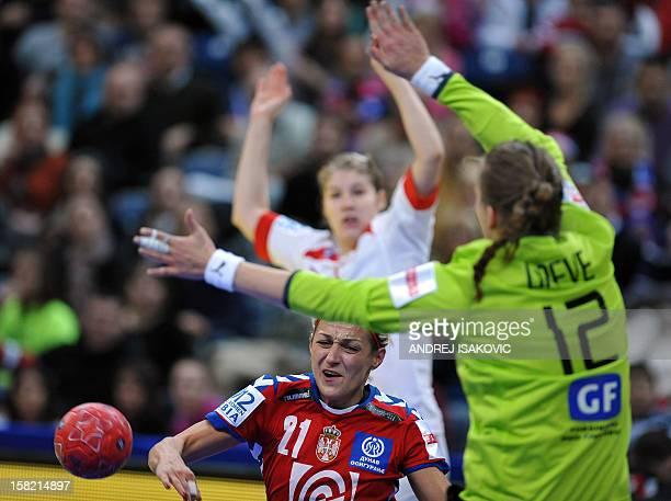 Serbia's Svetlana Ognjenovic challenges Denmark's goalkeeper Cecilie Greve during their Women's EHF Euro 2012 Handball Championship match Serbia vs...
