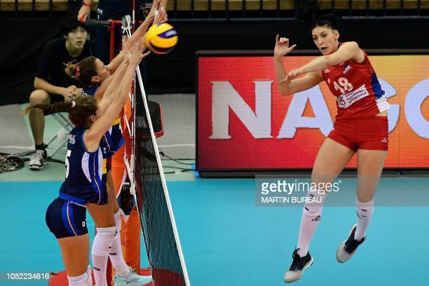 Serbia's Tijana Boskovic spikes the ball during the 2018 FIVB World Championship volleyball women's pool G match between Italy and Serbia in Nagoya...
