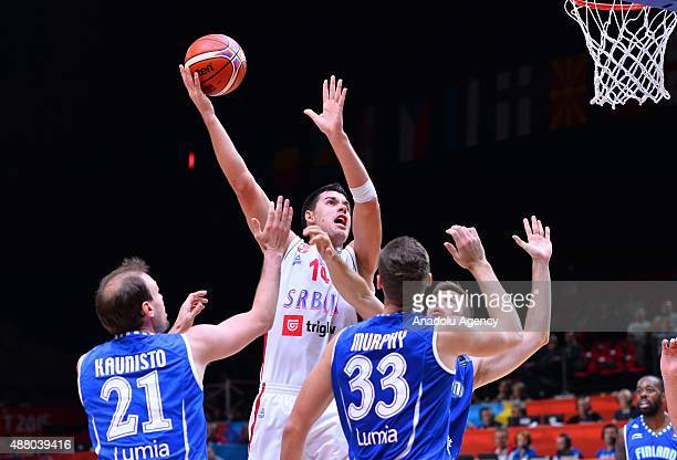 Serbia's Zoran Erceg in action during the EuroBasket 2015 Round of 16 match between Serbia and Finland at the Pierre Mauroy Stadium in Lille on...