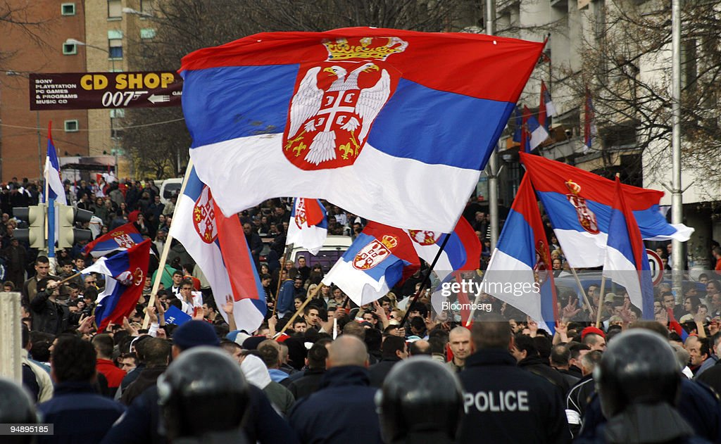 Serbs demonstrate in Mitrovica, Serbia, on Friday, Feb. 22, : News Photo
