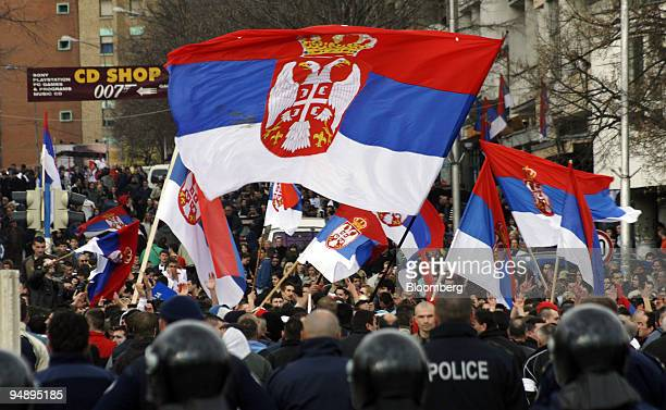 Serbs demonstrate in Mitrovica Serbia on Friday Feb 22 2008 Kosovar police and NATO stopped students from Serbia from entering Kosovo for a protest...