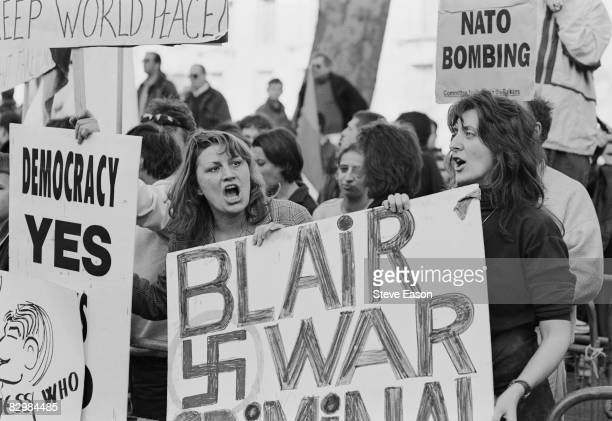 Serbs in London demonstrate against the NATO bombing of Yugoslavia during the Kosovo War 28th March 1999