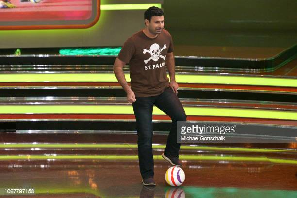 Serdal Celebi plays football on stage during the tv show '2018 Menschen Bilder Emotionen' on December 3 2017 in Cologne Germany