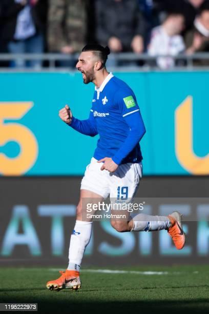 Serdar Dursun of Darmstadt celebrates his team's second goal during the Second Bundesliga match between SV Darmstadt 98 and Hamburger SV at...