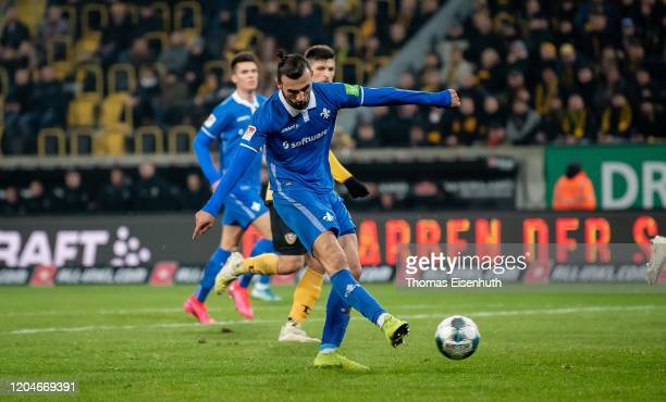 Serdar Dursun of Darmstadt scores his team's third goal during the Second Bundesliga match between SG Dynamo Dresden and SV Darmstadt 98 at Rudolf...