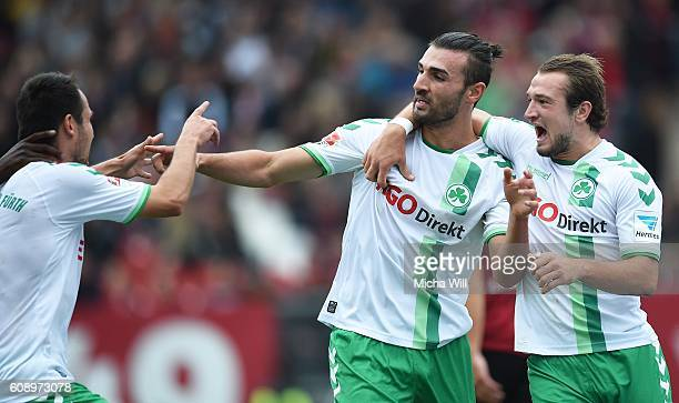 Serdar Dursun of Fuerth celebrates with teammates after scoring the opening goal during the Second Bundesliga match between 1. FC Nuernberg and SpVgg...