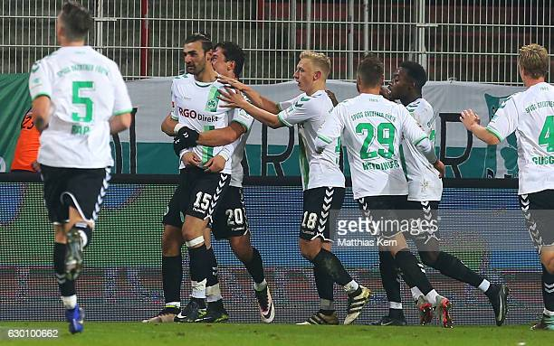 Serdar Dursun of Fuerth jubilates with team mates after scoring the second goal during the Second Bundesliga match between 1 FC Union Berlin and...
