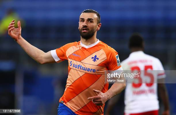 Serdar Dursun of SV Darmstadt 98 celebrates after scoring their team's second goal during the Second Bundesliga match between Hamburger SV and SV...