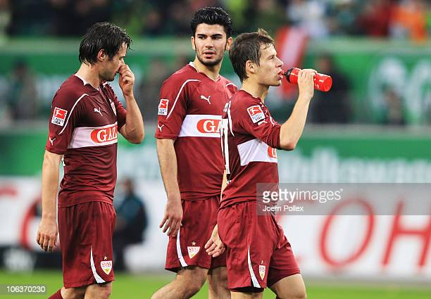 Serdar Tasci and Christian Traesch and Stefano Celozzi of Stuttgart are seen after the Bundesliga match between VfL Wolfsburg and VfB Stuttgart at...