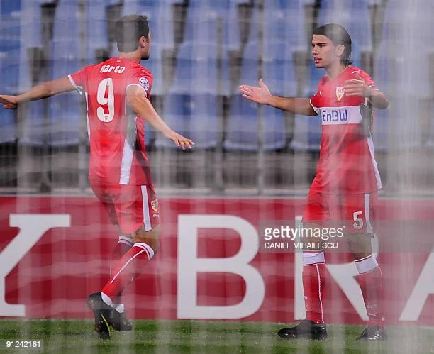Serdar Tasci of VFB Stuttgart celebrates after he scoring 10 togheter with Ciprian Marica against Unirea Urziceni during Champions League football...